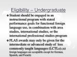 eligibility undergraduate