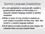 summer language cooperatives