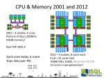 cpu memory 2001 and 2012