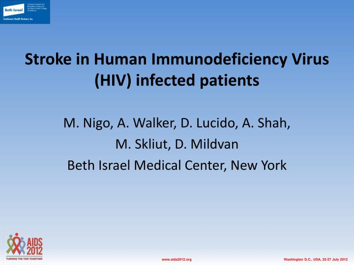stroke in human immunodeficiency virus hiv infected patients n.