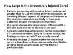 how large is the irreversibly injured core