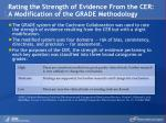 rating the strength of evidence from the cer a modification of the grade methodology