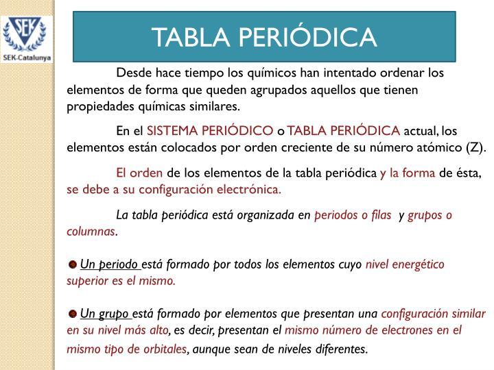 tabla peridica desde hace tiempo los qumicos han intentado ordenar los elementos de forma que queden agrupados aquellos que tienen propiedades qumicas - Tabla Periodica De Los Elementos Quimicos Ppt