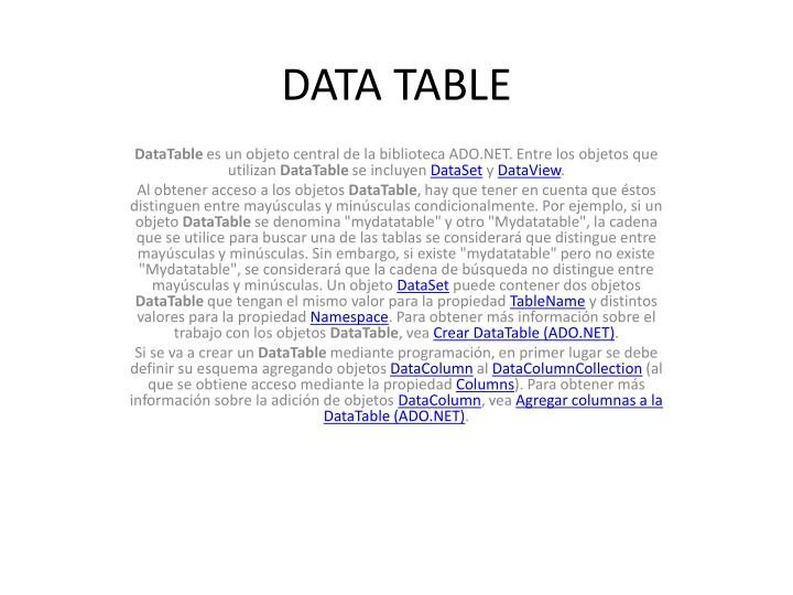 data table n.