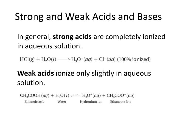 Strong and Weak Acids and Bases