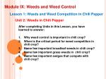 module ix weeds and weed control