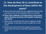 11 how do lines 10 11 contribute to the development of ideas within the poem