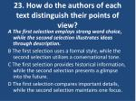 23 how do the authors of each text distinguish their points of view