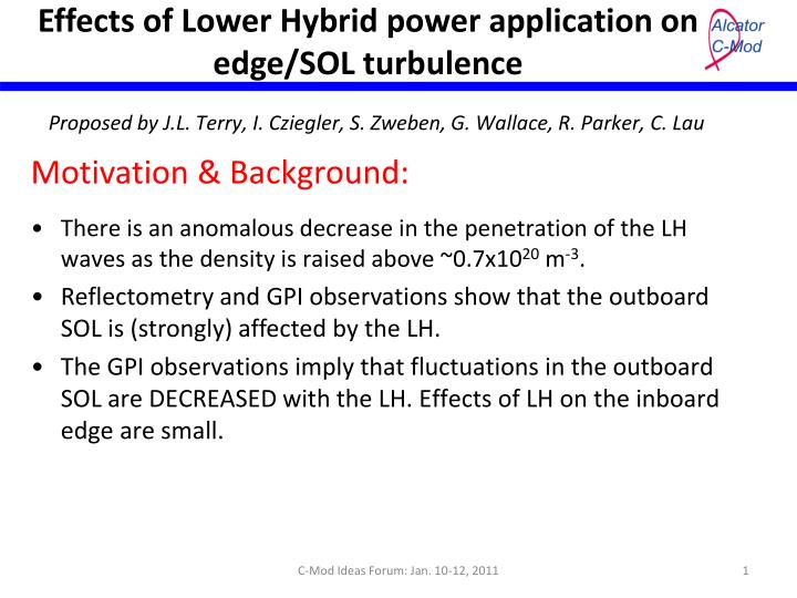 effects of lower hybrid power application on edge sol turbulence n.