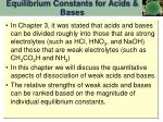 equilibrium constants for acids bases