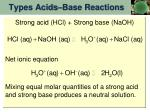types acids base reactions