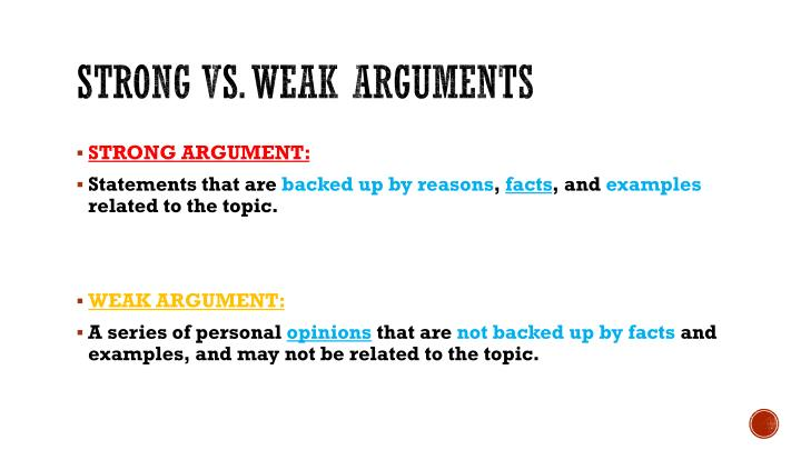 strong and weak arguments
