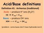 acid base definitions