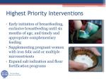 highest priority interventions