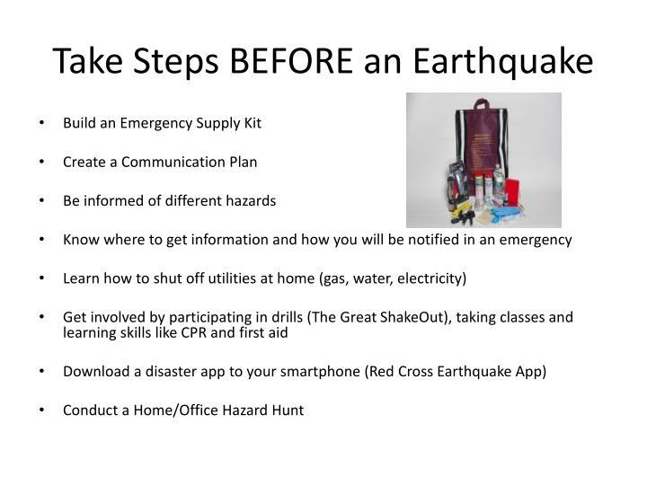 Take Steps BEFORE an Earthquake