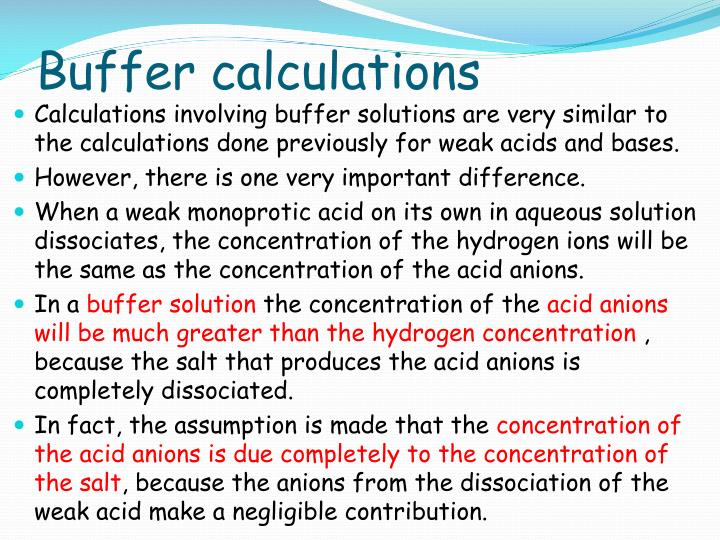 Buffer calculations