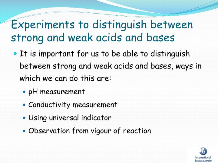 Experiments to distinguish between strong and weak acids and bases