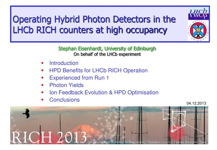 operating hybrid photon detectors in the lhcb rich counters at high occupancy n.