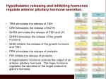 hypothalamic releasing and inhibiting hormones regulate anterior pituitary hormone secretion