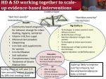 hd sd working together to scale up evidence based interventions