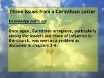 three issues from a corinthian letter15