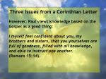 three issues from a corinthian letter16