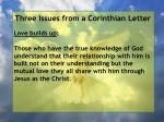 three issues from a corinthian letter17