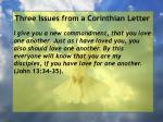 three issues from a corinthian letter28