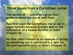 three issues from a corinthian letter3