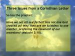 three issues from a corinthian letter41