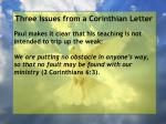 three issues from a corinthian letter62