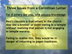 three issues from a corinthian letter66