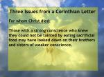 three issues from a corinthian letter69