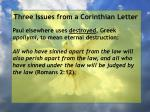 three issues from a corinthian letter72