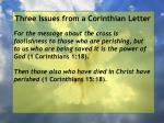 three issues from a corinthian letter74