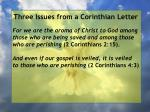 three issues from a corinthian letter76