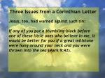 three issues from a corinthian letter81