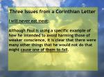 three issues from a corinthian letter84