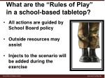 what are the rules of play in a school based tabletop