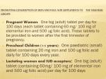 promoting consumption of iron and folic acid supplements to the high risk groups