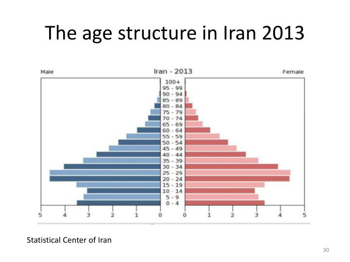 The age structure in Iran 2013