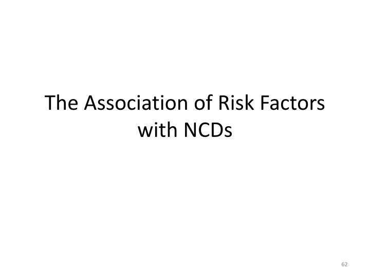 The Association of Risk Factors with NCDs