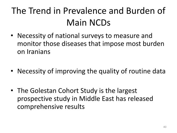 The Trend in Prevalence and Burden of Main NCDs