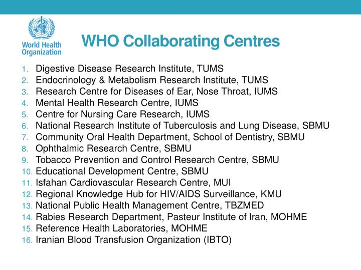 Who collaborating centres