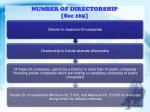 number of directorship sec 165