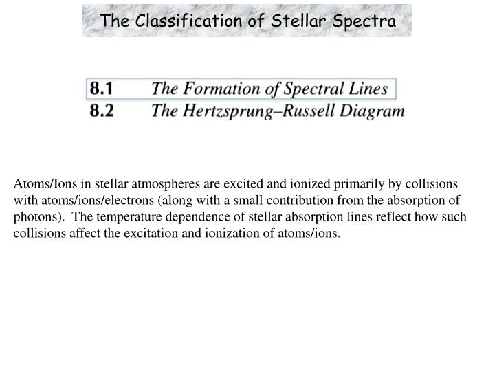 the classification of stellar spectra n.