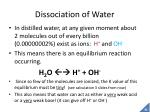 dissociation of water