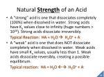 natural strength of an acid