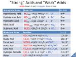 strong acids and weak acids acids shown in red conjugate base in blue