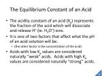 the equilibrium constant of an acid